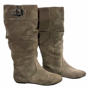 GIANNI BINI Tall Suede Riding Boots Taupe